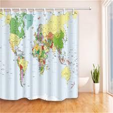 world map polyester fabric bathroom shower curtain