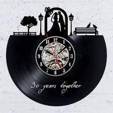 Record Gifts Unusual Vinyl Record Wall Clock Gift Idea For 30th Anniversary