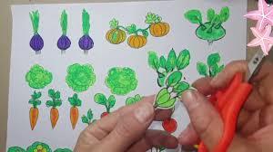 Bé tập vẽ / vẽ vườn rau / vẽ rau, củ , quả - YouTube