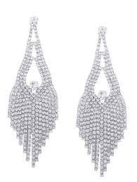 sparkly rhinestone teardrop chandelier earrings silver