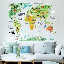 office wall art. ISABEL Animal World Map Wall Stickers For Kids Rooms, Living Room Home  Decorations Decal Mural Office Wall Art