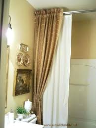 Double Shower Curtain In Brushed Nickel Curved Adjustable Double