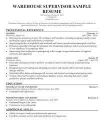 Sample Help Desk Supervisor Resume Warehousing Supervisor Resume Sample Warehouse Samples Resumes