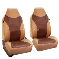 fh group highback textured leather seat covers for sedan suv van truck two highback buckets tan com