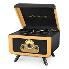 5 in 1 vintage tabletop record player with bluetooth and cd player