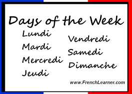 French Days Of The Week Days Of The Week In French