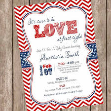 Valentines Day Invitations Beauteous Love At First Sight Baby Shower Invitation Red Blue Chevron