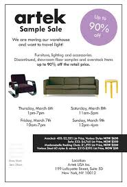 artek furniture sample sale march 6th to 9th soho strut the