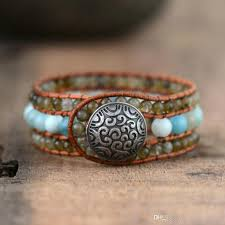 2019 top womens boho bracelets labradorite ite leather cuff bracelet semi precious stone beaded statement bracelet drop from comeonjewelry