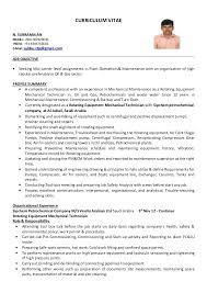 Mechanical Supervisor Resume Sample Curriculum Vitae N Mobile