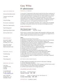 IT administrator CV sample, explaining your relevant skill sets,  technology, jobs, CVs