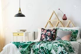 pendant lighting bedroom. Modern Bohemian Bedroom Interior With Green Accents And Pendant Lamp Stock Photo - 84817059 Lighting