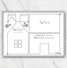 Gingerbread House Patterns Mesmerizing Printable Gingerbread House Template Black And White Temploola