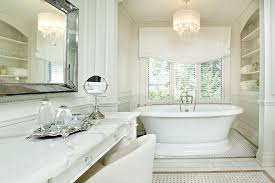 crystal chandelier hall bathroom traditional with relaxed roman shade built in shelves double vanity