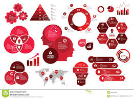 Red Color Chart Infographic Set Red Color Scheme Business Graph Arrow