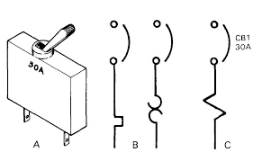 electronics symbols components and references b thermal overload symbol for circuit breaker c magnetic overload symbol reference designation and amp rating