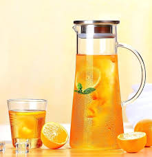 premium glass pitcher with lid hot cold water jug juice and iced tea beverage