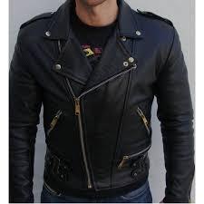 handmade men black biker leather jacket front zip pockets and side buckles