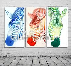 bright colored oil paintings zebra animals canvas oil painting canvas painting 3 panel canvas oil painting