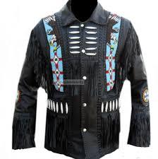 western leather jacket fringed bones and beaded