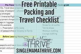 Free Printable Packing And Travel Checklist ~ Single Mama Thrive