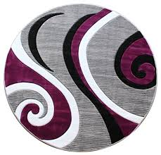 masada rugs sophia collection hand carved area rug modern contemporary purple white grey black 5 feet 3 inch x 5 feet 3 inch round