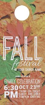 Fall Festival Leaves Door Hanger Church Invitations Outreach