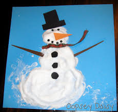 {Snowmen at Christmas} | use glue and shaving cream mixed together to  create the