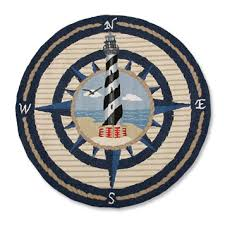 lighthouse and compass round rug