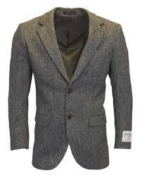 mens classic scottish harris tweed herringbone country blazer jacket genuine leather ons steel grey 38 52