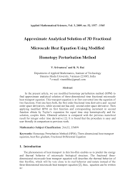 approximate ytical solution of 3d fractional microscale heat equation using modified topy perturbation method pdf available