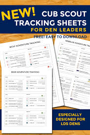 Webelos Attendance Chart New Cub Scout Tracking Sheets Especially For Lds Dens The
