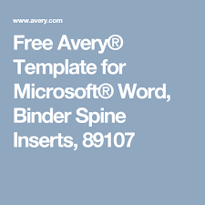 Avery Binder Spine Inserts Template Free Avery Template For Microsoft Word Binder Spine Inserts