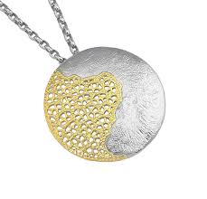 sterling silver and gold disc pendant