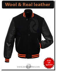 new mens wool real leather jacket sleeves college jacket s m l xl baseball jacket