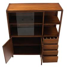 mid century walnut bookcase server display cabinet w drawers glass sliding door for