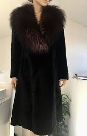 exclusive sheared mink coat with a large fox fur collar hand made in italy