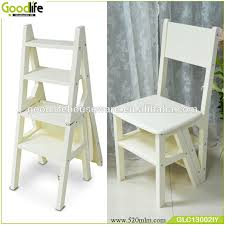 wooden folding library step chair ladder made in china