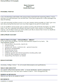 Resume For Clerical Position Clerical Officer Cv Example Icover Org Uk