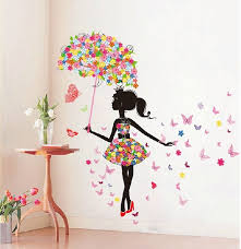 butterfly girl removable wall art sticker vinyl decal diy room home regarding girl wall decor plan  on diy little girl wall art with butterfly girl removable wall art sticker vinyl decal diy room home