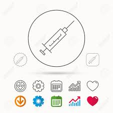 Syringe Icon Injection Or Vaccine Instrument Sign Laboratory