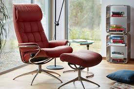 stressless london high back chair and ottoman profile view