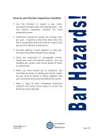 bar inspection checklist