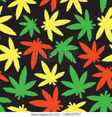 Marihuana Ganja Weed Seamless Vector Pattern Rasta Poster Id