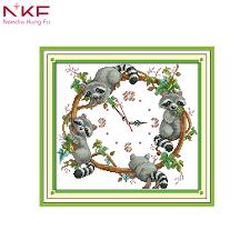 <b>NKF</b> The cute little raccoons wall clock counted printed pattern <b>cross</b> ...