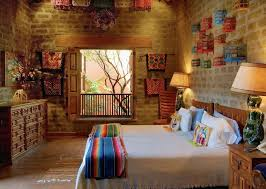 Mexican bedroom. Charming room decorated with inexpensive, colourful Mexican