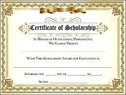 Scholarship Certificate Template Scholarship Award Certificate
