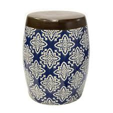 blue garden stool. Ceramic Blue And Cream Floral Tile Garden Stool Blue_white_and_brown