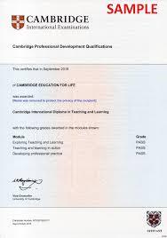 cambridge international diploma in teaching learning cambridge  cidtl certification sample
