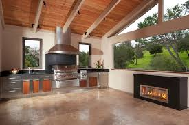 High Quality Kitchens:Best Outdoor Kitchen Idea With Stainless Steel Kitchen Counter And  Modern Dark Fireplace Best Photo Gallery